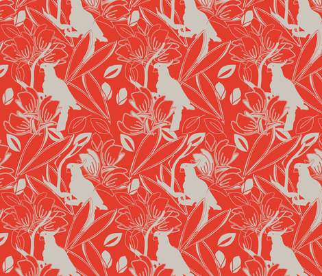 Cockatoo Tangerine fabric by leeandallandesign on Spoonflower - custom fabric