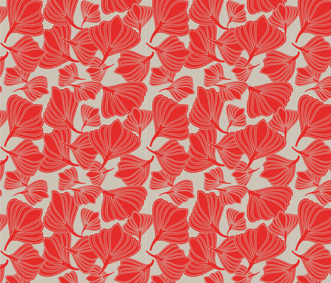 Tulip Seeds Tangerine fabric by leeandallandesign on Spoonflower - custom fabric