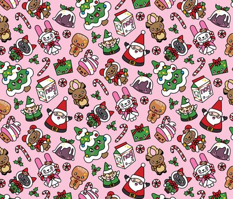 Kawaii Christmas Party -Bubble Gum fabric by urban_threads on Spoonflower - custom fabric