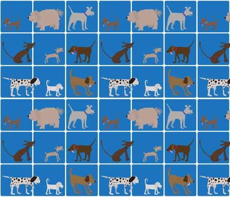 dogs on blue grid fabric by doris&fred on Spoonflower - custom fabric
