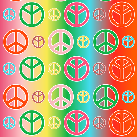 Colorful Peace Signs fabric by lyddiedoodles on Spoonflower - custom fabric