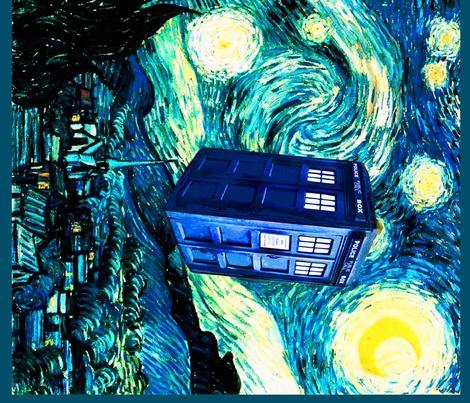 BohoBear collage with Van Gogh's Starry Night  fabric by bohobear on Spoonflower - custom fabric