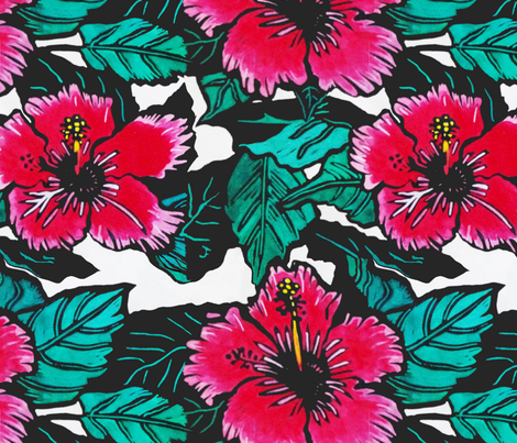 Hibiscus Print for Bag (c)indigodaze2012 fabric by indigodaze on Spoonflower - custom fabric