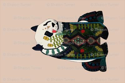 panda peach beige tea towel