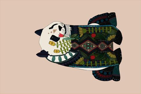 panda peach beige tea towel fabric by scrummy on Spoonflower - custom fabric