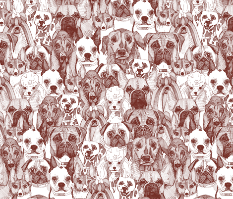 just dogs brown white fabric by scrummy on Spoonflower - custom fabric