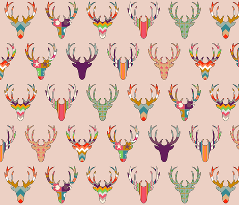 retro deer head blush fabric by scrummy on Spoonflower - custom fabric