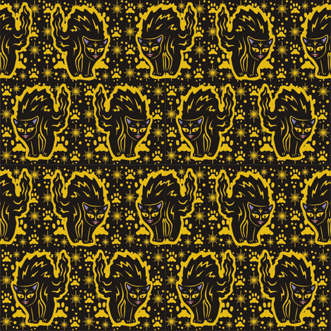 The Colorful Ms Tibbe a Black Cat in Pumpkin Blossom Yellow fabric by 3catsgraphics on Spoonflower - custom fabric