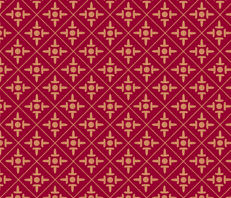 colonial_cross cinnamon fabric by glimmericks on Spoonflower - custom fabric