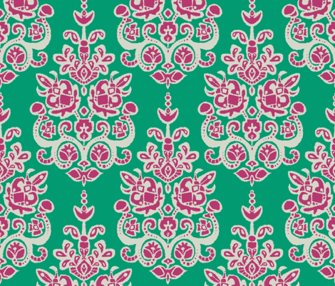 Saina damask ikat fabric by scrummy on Spoonflower - custom fabric
