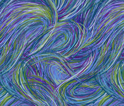 Parting Seas - Blue Waves Large fabric by wren_leyland on Spoonflower - custom fabric