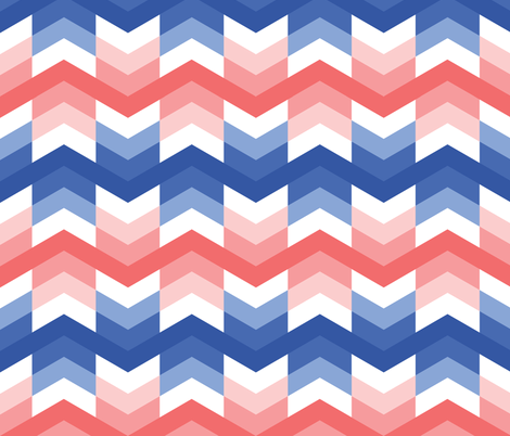 Zigzag arrows in Blue and Coral fabric by little_fish on Spoonflower - custom fabric