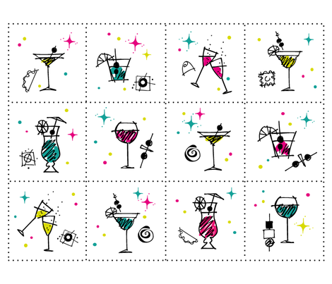 HolidayCocktailPartyNapkins fabric by outside_the_line on Spoonflower - custom fabric