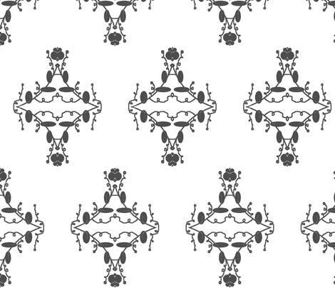 White and Gray Damask fabric by captiveinflorida on Spoonflower - custom fabric