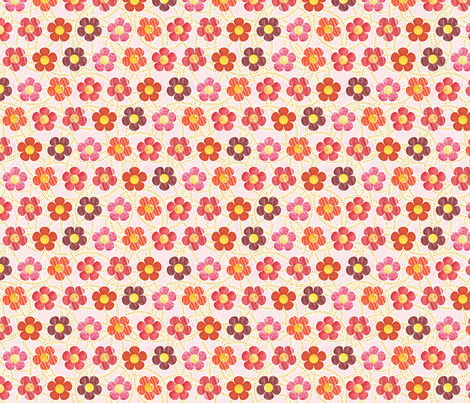 Red Patterened Flowers fabric by siya on Spoonflower - custom fabric
