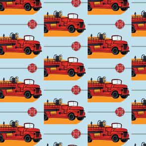 Fire Truck Repeat Blue Sky & FD Emblem