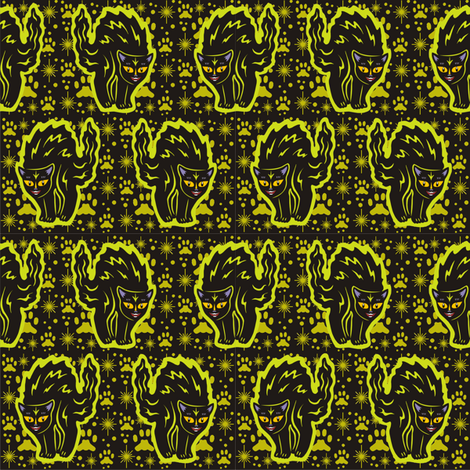 The Colorful Ms. Tibbe a Black Cat in Dusty Lime fabric by 3catsgraphics on Spoonflower - custom fabric