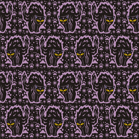 The Colorful Ms. Tibbe a Black Cat in Purple Plum fabric by 3catsgraphics on Spoonflower - custom fabric