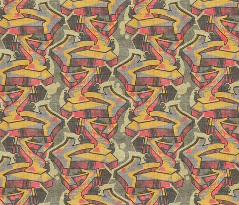 graffiti arrows on concrete fabric by jenr8 on Spoonflower - custom fabric