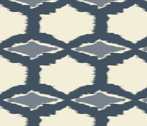 grey & ivory ikat diamonds fabric by fable_design on Spoonflower - custom fabric