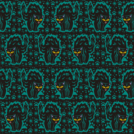 The Colorful Ms. Tibbe a Black Cat in Teal fabric by 3catsgraphics on Spoonflower - custom fabric