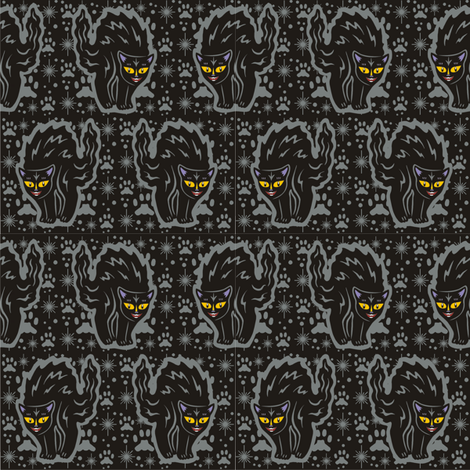 The Colorful Ms. Tibbe a Black Cat in Storm Cloud Grey fabric by 3catsgraphics on Spoonflower - custom fabric