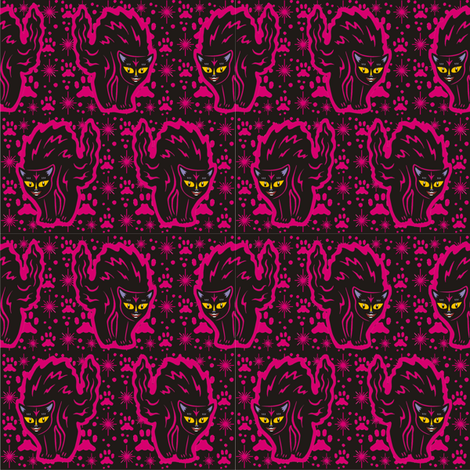The Colorful Ms. Tibbe, a Black Cat in Raspberry fabric by 3catsgraphics on Spoonflower - custom fabric