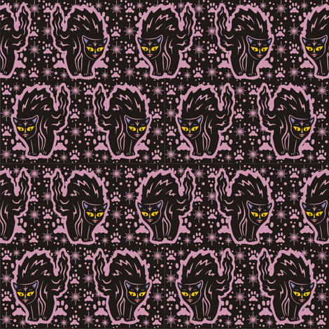 The Colorful Ms. Tibbe a Black Cat in Dusty Rose fabric by 3catsgraphics on Spoonflower - custom fabric