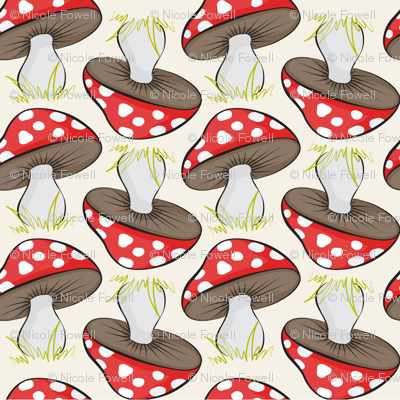 Sassy Fox - Neutral and red toadstools