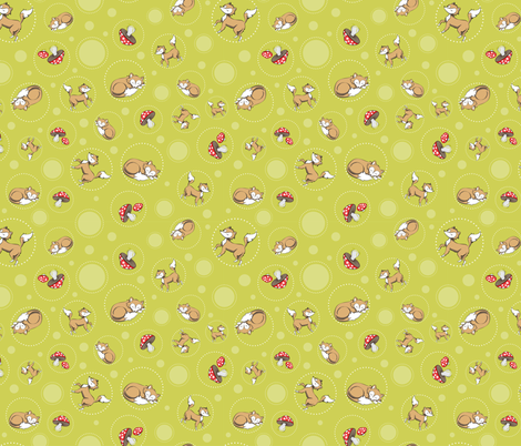 Sassy Fox - Fox and toadstool on green fabric by eveningsongink on Spoonflower - custom fabric