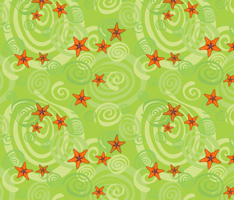 Spiralling starfish fabric by bippidiiboppidii on Spoonflower - custom fabric