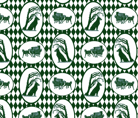 Beauceron Toile - green fabric by rusticcorgi on Spoonflower - custom fabric