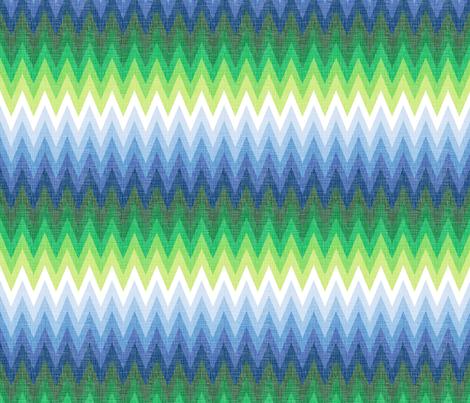Ombre Zig Zag Blue + Green fabric by veritymaddox on Spoonflower - custom fabric