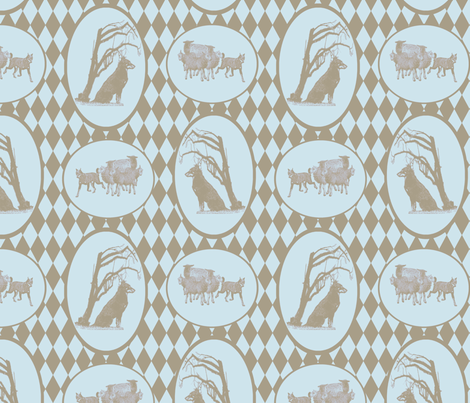 Beauceron Toile - clay/sky fabric by rusticcorgi on Spoonflower - custom fabric