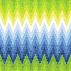 Ombre Zig Zag Blue + Chartreuse