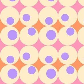 Googley Spots in PinkOrangeCreamLavender