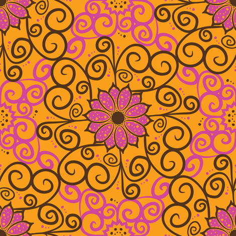 Samba Flowers Damask (Light) fabric by robyriker on Spoonflower - custom fabric