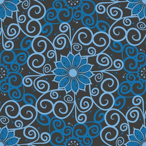 Polka Floral Damask (Dark) fabric by robyriker on Spoonflower - custom fabric