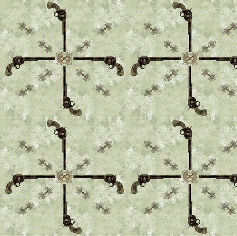 Victorian Pistol Green Background fabric by boneyfied on Spoonflower - custom fabric
