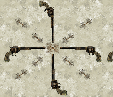 Victorian Pistol brown-gray background fabric by boneyfied on Spoonflower - custom fabric