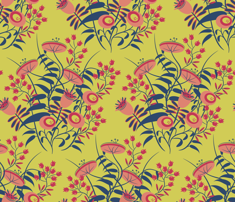 jolies fleurs no. 1 ~ Matisse citron  fabric by retrorudolphs on Spoonflower - custom fabric