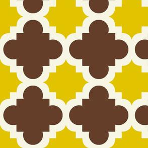burst brown and mustard