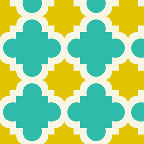 burst turquoise and mustard