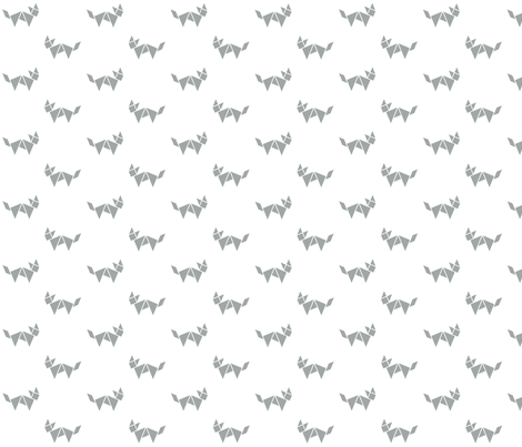 Tangram fox in grey on white fabric by little_fish on Spoonflower - custom fabric