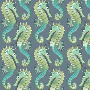 Seahorses on parade (blue-grey)