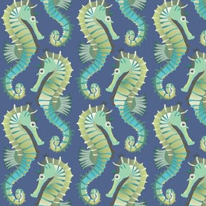 Seahorses on parade (dark blue)