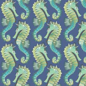 Seahorses on parade (dark blue)