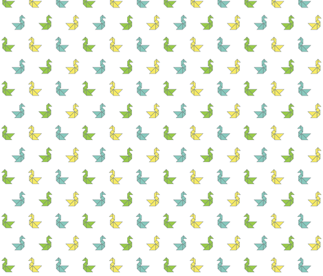 Tangram birds in lime, aqua and lemon on white fabric by little_fish on Spoonflower - custom fabric