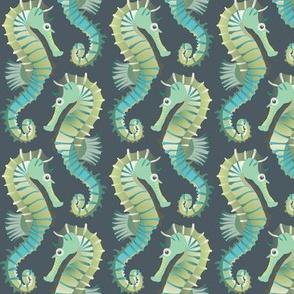 Seahorses on parade (grey-green)