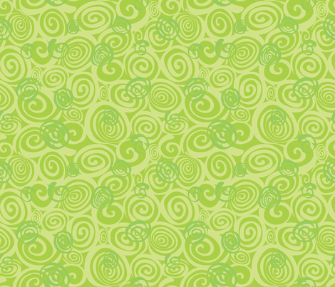A spiralling fishy tail (green) fabric by bippidiiboppidii on Spoonflower - custom fabric